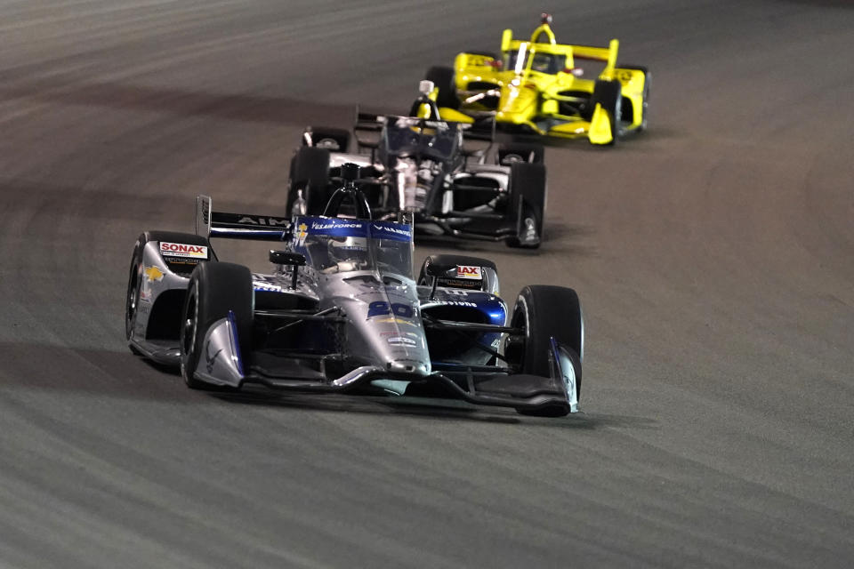 Ed Carpenter (20) drives during an IndyCar auto race at World Wide Technology Raceway on Saturday, Aug. 21, 2021, in Madison, Ill. (AP Photo/Jeff Roberson)