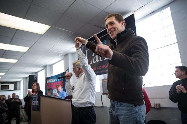United Mine Workers of America President Cecil Roberts, left, speaks at a rally for Democrat Conor Lamb on Sunday.