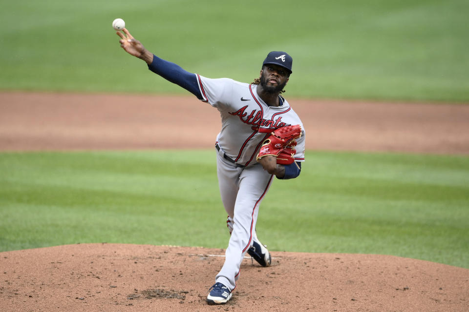 Atlanta Braves starting pitcher Touki Toussaint delivers during the second inning of a baseball game against the Baltimore Orioles, Sunday, Aug. 22, 2021, in Baltimore. (AP Photo/Nick Wass)