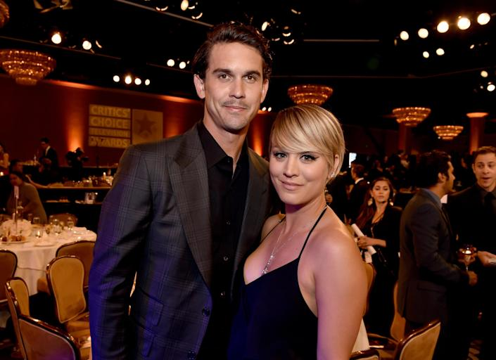 """Actress Kaley Cuoco and tennis player Ryan Sweeting attend the 4th Annual Critics' Choice Television Awards at The Beverly Hilton Hotel on June 19, 2014 in Beverly Hills, California. <span class=""""copyright"""">Photo by Kevin Winter/Getty Images for Critics' Choice Television Awards</span>"""