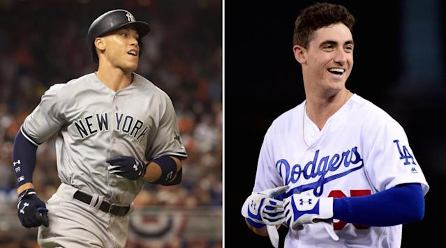 "<p>No surprise here: The American League and National League Rookie of the Year Awards went to sluggers Aaron Judge and Cody Bellinger. </p><p>Both players were unanimous choices, landing on the top of all 30 ballots. </p><p><a href=""http://m.mlb.com/news/article/261130518/aaron-judge-cody-bellinger-sure-to-be-roy/"" rel=""nofollow noopener"" target=""_blank"" data-ylk=""slk:Only three previous times have both leagues' Rookie of the Year been awarded unanimously"" class=""link rapid-noclick-resp"">Only three previous times have both leagues' Rookie of the Year been awarded unanimously</a>: Benito Santiago and Mark McGwire in 1987, Mike Piazza and Tim Salmon in 1993 and Scott Rolen and Nomar Garciaparra in 1997.</p><p>Judge, 25, is also a finalist for the AL MVP (which will be announced Thursday) after leading the AL in home runs with 52. He also had the most runs scored (128) and walks drawn (127) in the AL, while striking out a major-league high 208 times. The 52 homers broke Mark McGwire's 1987 mark (49) for dingers by a rookie. </p><p>Unlike Judge, Bellinger didn't start the season in the majors. But once he was called up on April 25, Bellinger proved to be one of the best hitters in the NL. He hit .267 with 39 homers, 97 RBIs and .933 OPS.</p><p>In a fun coincidence, Judge and Bellinger squared off in the Home Run Derby in July, with Judge eliminating Bellinger in the semi-finals en route to becoming the first rookie to ever win the competition. </p><p>Red Sox outfielder Andrew Benintendi and Orioles outfielder Trey Mancini were the other finalists in the AL. Bellinger beat out Pirates first baseman Josh Bell and Cardinals shortstop Paul DeJong. </p>"