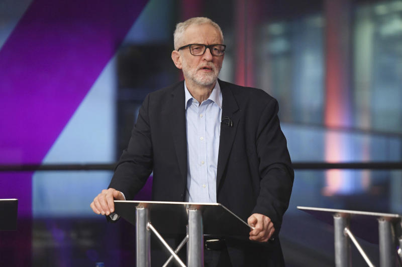 Britain's main opposition Labour Party leader Jeremy Corbyn practicing in the studio before the start of the Channel 4 News' General Election debate in central London, Thursday Nov. 28, 2019.  Britain's Brexit is one of the main issues for political parties and for voters, as the UK prepares to go to the polls in a General Election on Dec. 12. (Kirsty O'Connor/PA via AP)