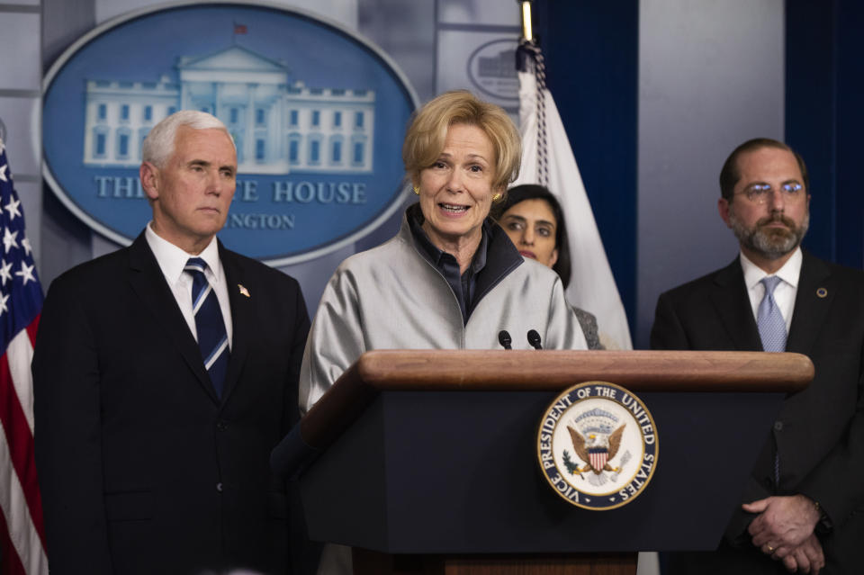 FILE - In this March 3, 2020, file photo, White House coronavirus response coordinator Dr. Deborah Birx, with, from left, Vice President Mike Pence, administrator of the Centers for Medicare and Medicaid Services Seema Verma, and Department of Health and Human Services Secretary Alex Azar, speaks to reporters during a briefing on coronavirus in the Brady press briefing room of the White House in Washington. Birx was brought into President Donald Trump's orbit to help fight the coronavirus, she had a sterling reputation as a globally recognized AIDS researcher and a rare Obama administration holdover. Less than 10 months later, her reputation is frayed and her future in President-elect Joe Biden's administration uncertain. (AP Photo/Manuel Balce Ceneta, File)