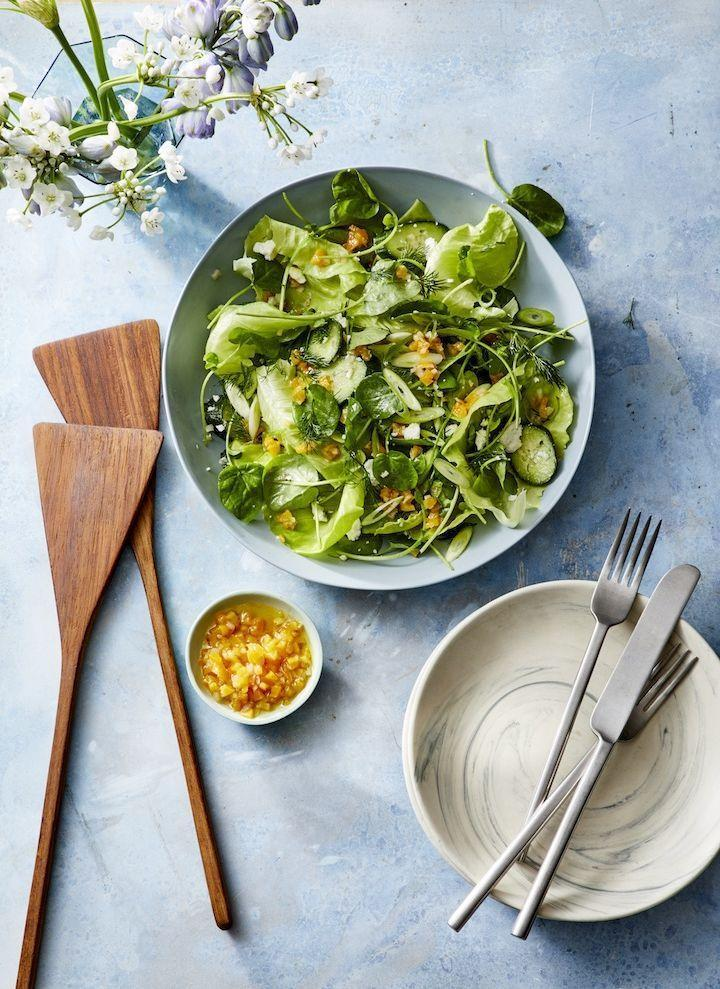"""<p>The best part of this recipe is the vibrant vegan salad dressing! It's packed with slightly spicy, tangy Dijon mustard and chopped dried apricots that get soaked in acidic white wine vinegar.</p><p><em><a href=""""https://www.goodhousekeeping.com/food-recipes/healthy/a30729432/spring-green-salad-apricot-vinaigrette-recipe/"""" rel=""""nofollow noopener"""" target=""""_blank"""" data-ylk=""""slk:Get the recipe for Spring Green Salad With Apricot Vinaigrette »"""" class=""""link rapid-noclick-resp"""">Get the recipe for Spring Green Salad With Apricot Vinaigrette »</a></em></p>"""