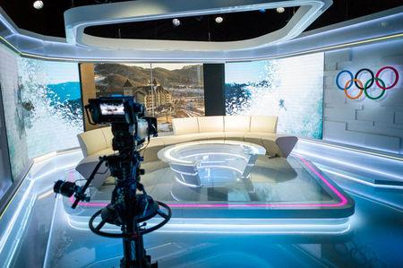 The Discovery IBC Roof Studio is seen in Pyeongchang in this image released on February 12, 2018.   Discovery Communications/James Hillier/Handout via REUTERS