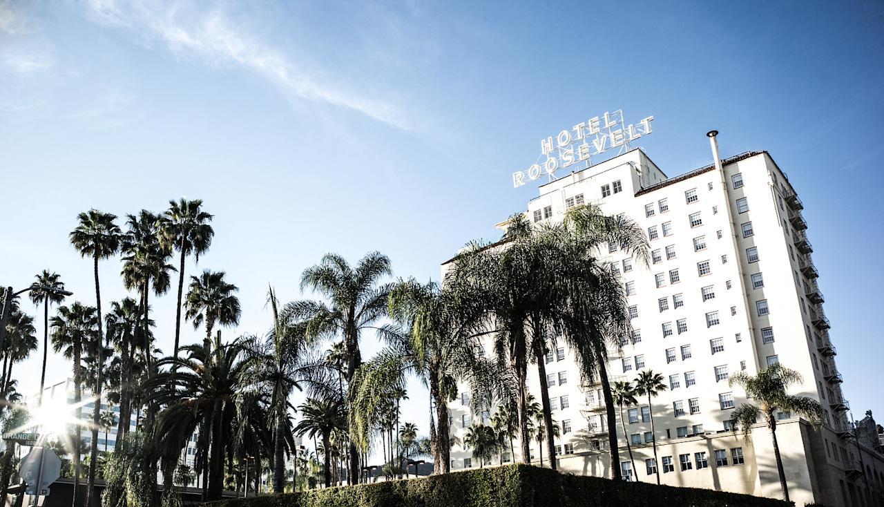 """<p>Book the Love is in the Air package and settle in with a suite-level room, a chartered 30-minute helicopter ride around the city, and a private in-room dinner with a butler. (from $2,140, <a rel=""""nofollow"""" href=""""https://www.thehollywoodroosevelt.com/rooms/special-offers/"""">hollywoodroosevelt.com</a>).</p>"""