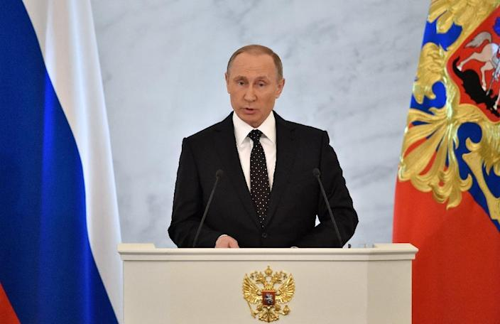 Russian President Vladimir Putin delivers his annual state of the nation address at the Kremlin in Moscow on December 3, 2015 (AFP Photo/Kirill Kudryavtsev)