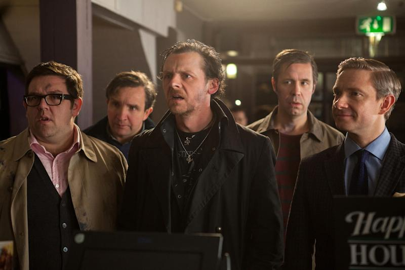 "FILE - This film publicity image released by Focus Features shows, from left, Nick Frost as Andy, Eddie Marsan as Peter, Simon Pegg as Gary, Paddy Considine as Steven, and Martin Freeman as Oliver in ""The World's End."" (AP Photo/Focus Features, Laurie Sparham, File)"