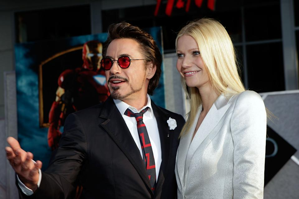 """Robert Downey Jr. and Gwyneth Paltrow arrive at the """"Iron Man 2"""" World Premiere at El Capitan Theatre on April 26, 2010 in Hollywood, California.  (Photo by Jeff Vespa/WireImage)"""