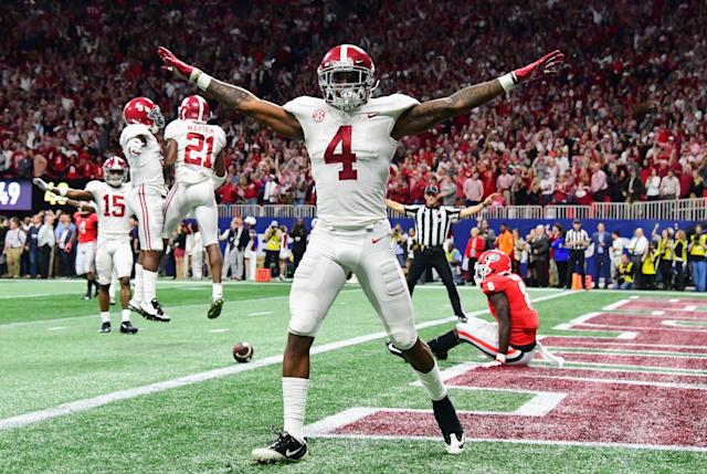 Alabama's Saivion Smith didn't run the 40-yard-dash at the scouting combine as he was recovering from an ankle injury suffered in the national title game. (Getty Images)