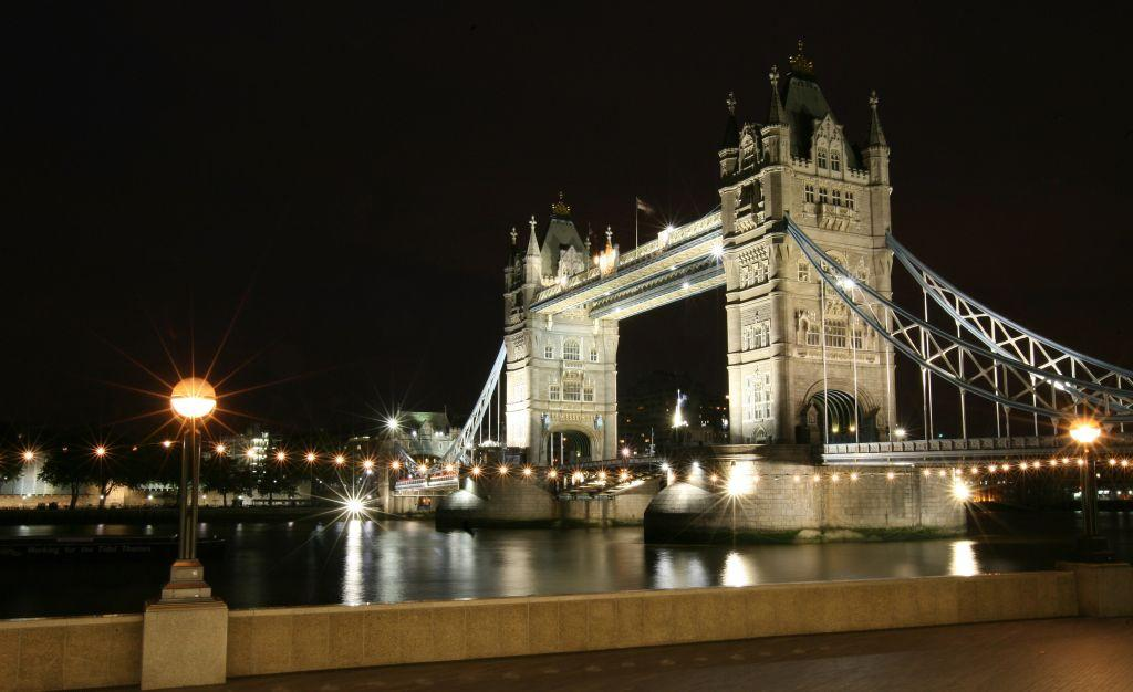 Tower Bridge, London, United Kingdom: A general view of Tower Bridge by night.