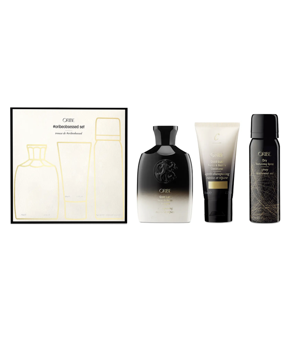"""<h2>Oribe Obsessed Discovery Set</h2><br>Try three of Oribe's most beloved products in this travel-friendly, ultra-giftable trio of shampoo, conditioner, and texturizing spray.<br><br><strong>Oribe</strong> Obsessed Discovery Set, $, available at <a href=""""https://go.skimresources.com/?id=30283X879131&url=https%3A%2F%2Fwww.nordstrom.com%2Fs%2Foribe-obsessed-discovery-set-usd-58-value%2F5794240%3F"""" rel=""""nofollow noopener"""" target=""""_blank"""" data-ylk=""""slk:Nordstrom"""" class=""""link rapid-noclick-resp"""">Nordstrom</a>"""