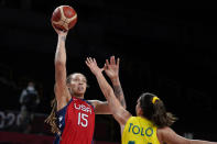 United States's Brittney Griner (15) shoots over Australia's Marianna Tolo during a women's basketball quarterfinal round game at the 2020 Summer Olympics, Wednesday, Aug. 4, 2021, in Saitama, Japan. (AP Photo/Charlie Neibergall)