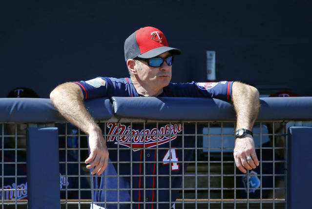 FILE - In this March 6, 2016, file photo, Minnesota Twins manager Paul Molitor watches a spring training baseball game against the Tampa Bay Rays, in Port Charlotte, Fla. The Minnesota Twins fired Paul Molitor on Tuesday, Oct. 2, 2018, one season after he won the American League Manager of the Year award. Molitor has been offered another position within the organization. (AP Photo/Patrick Semansky, File)