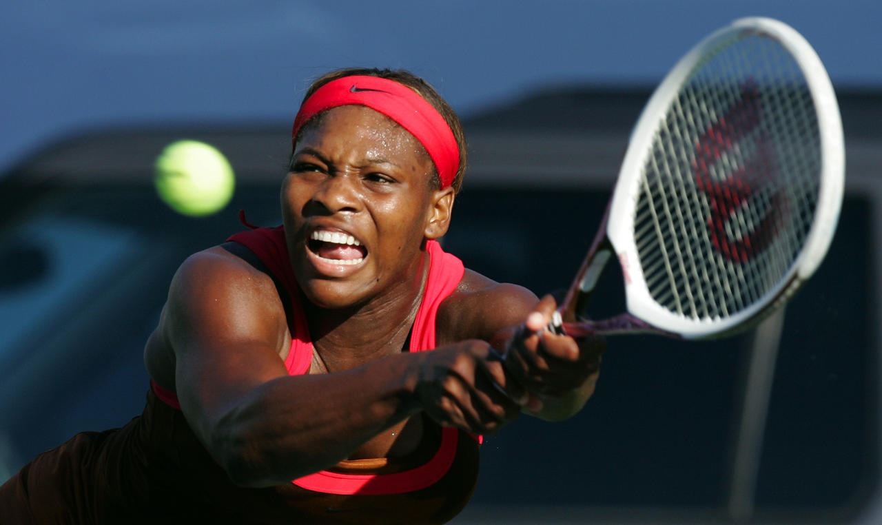 Serena Williams returns a shot to Ashley Harkleroad during their match at the JPMorgan Chase Open tennis tournament Wednesday, Aug. 9, 2006, in Carson, Calif. Williams won the match 6-3, 6-2. (AP Photo/Mark J. Terrill)