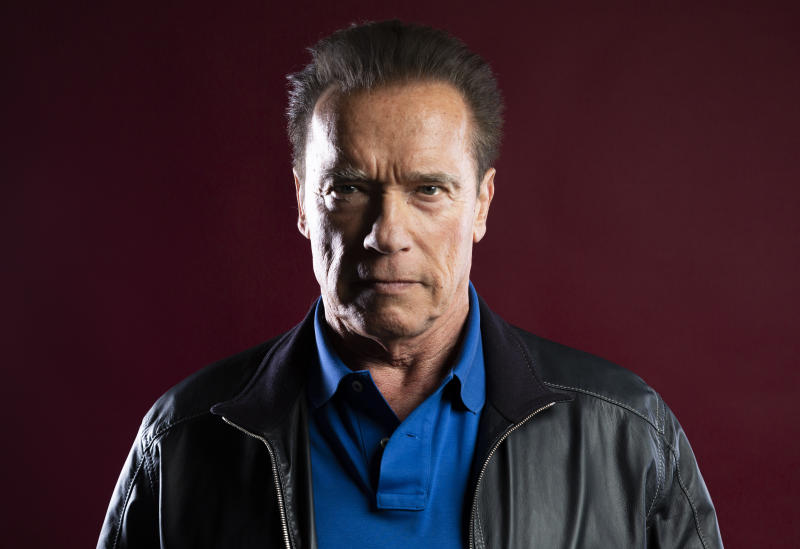"""This Oct. 26, 2019 photo shows actor Arnold Schwarzenegger posing for a portrait to promote the film, """"Terminator: Dark Fate"""" at the Four Seasons Hotel Los Angeles at Beverly Hills in Los Angeles. (Photo by Willy Sanjuan/Invision/AP)"""