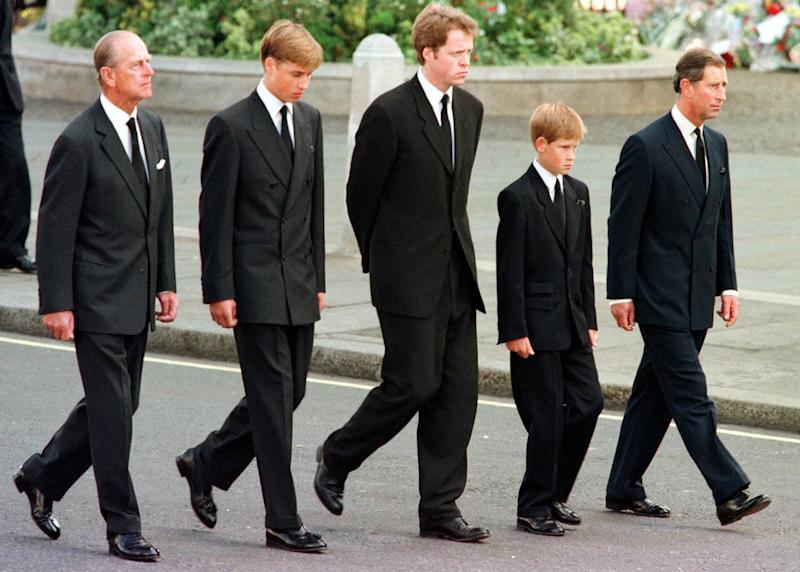 The Duke of Edinburgh, Prince William, Earl Spencer, Prince Harry and Prince Charles walk outside Westminster Abbey during the funeral service for Diana, Princess of Wales - Credit:  EPA