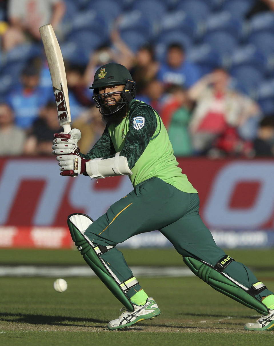 South Africa's Hashim Amla in action against Afghanistan during the ICC Cricket World Cup group stage match at The Cardiff Wales Stadium in Cardiff, Wales, Saturday June 15, 2019. (David Davies/PA via AP)