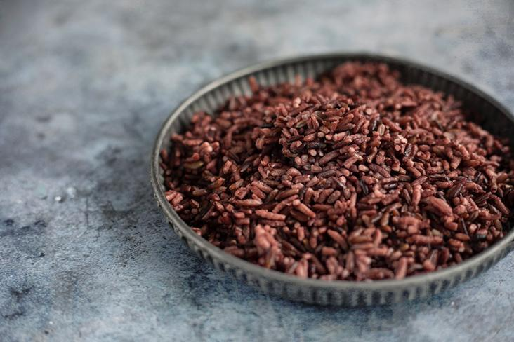 Chewy, nutty Thai riceberry grains.