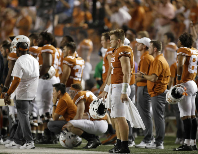 Texas Longhorns quarterback Sam Ehlinger #11 and teamamtes watch action against the LSU Tigers Saturday Sept. 7, 2019 at Darrell K Royal-Texas Memorial Stadium in Austin, Tx. LSU won 45-38. ( Photo by Edward A. Ornelas )