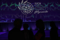Participants are silhouetted during the opening of the IUCN World Conservation Congress in Marseille, southern France, Friday Sept. 3, 2021. Macron is expected to urge the world to better protect biodiversity as key to fight climate change and support human welfare at a global summit starting Friday in southern France. (AP Photo/Daniel Cole)