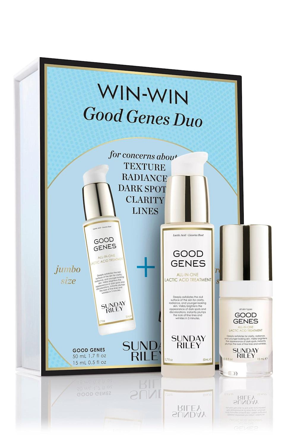 <p><span>Sunday Riley Good Genes All-in-One Lactic Acid Exfoliating Face Treatment Set</span> ($114, originally $184)</p>