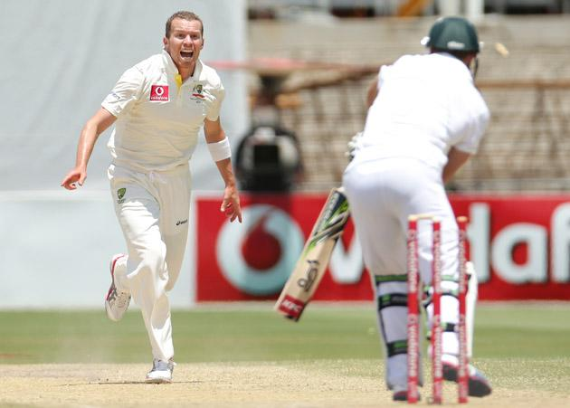 Peter Siddle of Australia celebrates after bowling AB de Villiers of South Africa during day five of the Second Test Match between Australia and South Africa at Adelaide Oval on November 26, 2012 in Adelaide, Australia.  (Photo by Scott Barbour/Getty Images)