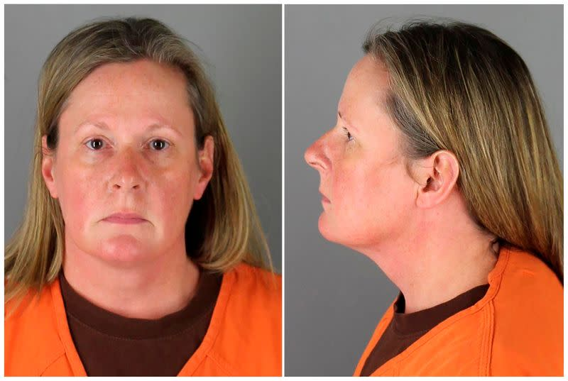 Kim Potter poses for a booking photograph at Hennepin County Jail