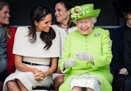 <p>The Duchess of Sussex accompanied the Queen on their first joint engagement together in Chester in June, and the pair couldn't contain their giggles (Getty) </p>