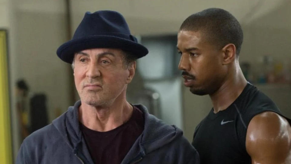 Sylvester Stallone and Michael B. Jordan in 'Creed'. (Credit: Warner Bros)