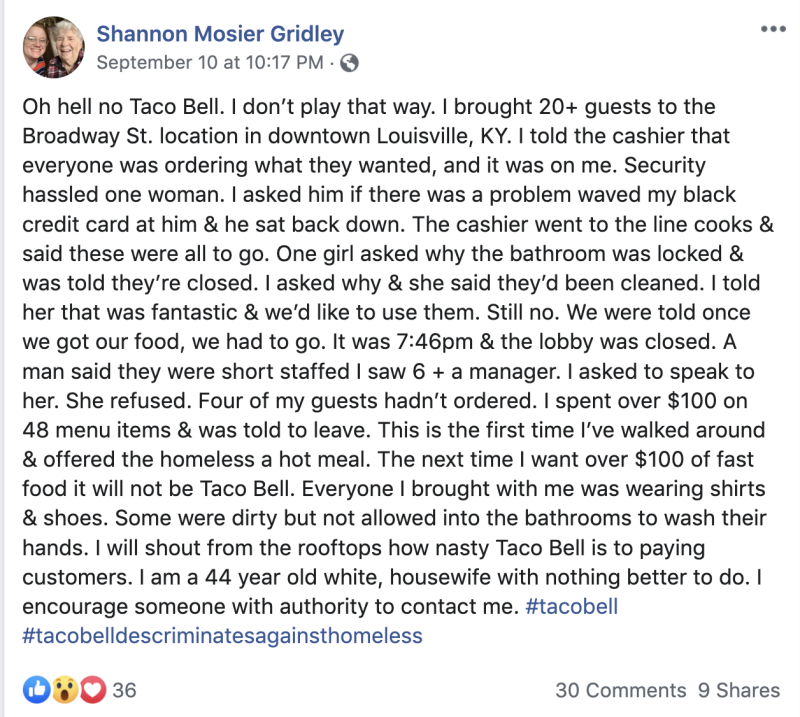 Shannon Mosier Gridley of Kentucky was kicked out of a Taco Bell while treating 20 homeless people to a meal. (Photo: Facebook/Shannon Mosier Gridley)