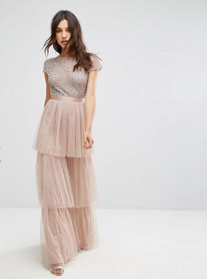 "<p>Maya Cape Sleeve Tiered Maxi Dress in Tonal Delicate Sequin with Bow Back, £105, ASOS<br><a rel=""nofollow"" href=""http://www.asos.com/maya/maya-cape-sleeve-tiered-maxi-dress-in-tonal-delicate-sequin-with-bow-back/prd/8386710?clr=mink&SearchQuery=&cid=15156&pgesize=204&pge=0&totalstyles=389&gridsize=3&gridrow=11&gridcolumn=2#""></a></p><p><a rel=""nofollow"" href=""http://www.asos.com/maya/maya-cape-sleeve-tiered-maxi-dress-in-tonal-delicate-sequin-with-bow-back/prd/8386710?clr=mink&SearchQuery=&cid=15156&pgesize=204&pge=0&totalstyles=389&gridsize=3&gridrow=11&gridcolumn=2"">BUY NOW</a></p>"