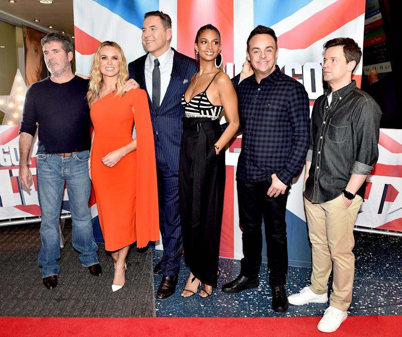MANCHESTER, ENGLAND - FEBRUARY 06: Simon Cowell, Amanda Holden, David Walliams, Alesha Dixon, Anthony McPartlin and Declan Donnelly during the 'Britain's Got Talent' Manchester photocall at The Lowry on February 06, 2019 in Manchester, England. (Photo by Shirlaine Forrest/Getty Images)