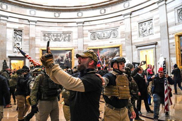 PHOTO: Supporters of US President Donald Trump enter the US Capitol's Rotunda on Jan. 6, 2021, in Washington, D.C.  (Saul Loeb/AFP via Getty Images)