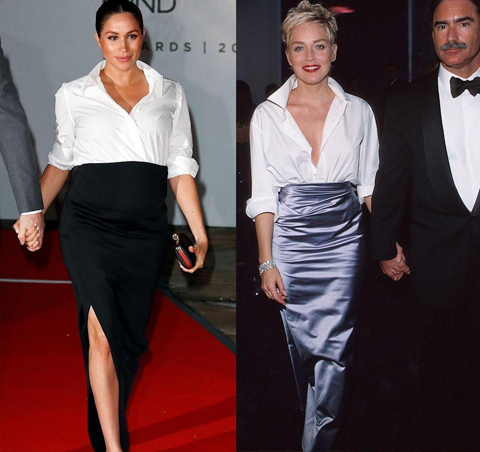 <p>Showing off her bump in a minimalist black skirt and white button-down, Meghan Markle looked stunning at the Endeavour Fund Awards in 2019. The look reminded us of Sharon Stones's chic satin skirt and button-down at the Academy Awards in 1998. </p>