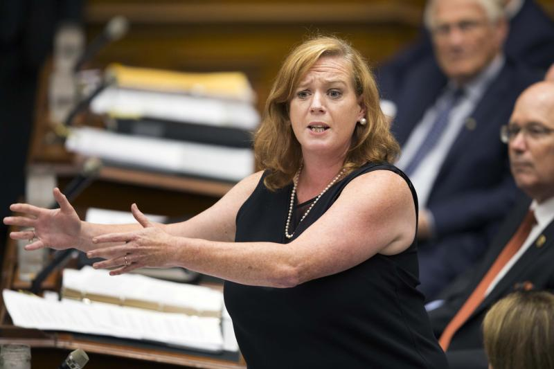 TORONTO, ON - AUGUST 1: Social Services Minister Lisa MacLeod during question period at Queen's Park. (Andrew Francis Wallace/Toronto Star via Getty Images)