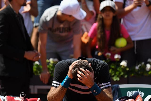 Just too much: Argentina's Juan Martin del Potro in tears after beating Marin Cilic in the quarter-finals (AFP Photo/Christophe ARCHAMBAULT)