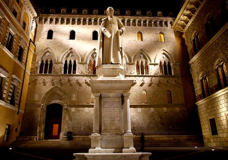 FILE PHOTO: The entrance of Monte dei Paschi bank headquarters in downtown Siena