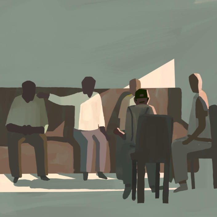 Illustration of Black men in a living room watching the Derek Chauvin trial on TV and comforting one another. (Jamiel Law / for NBC News)