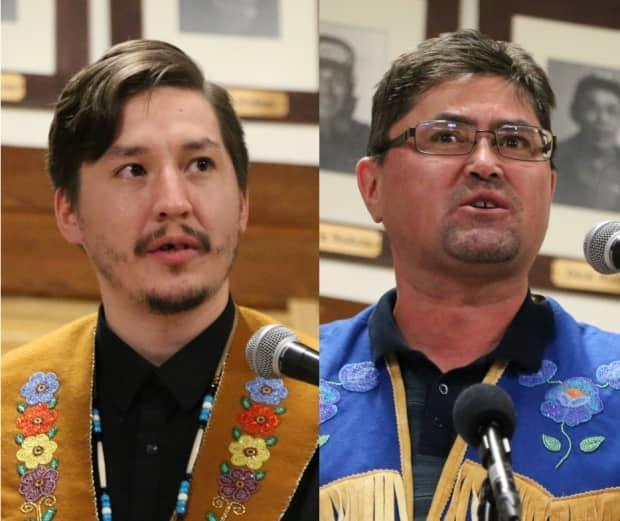 Vuntut Gwitchin Chief Dana Tizya-Tramm, left, and former deputy chief Darius Elias who died in 2021. (Alexandra Byers/CBC - image credit)