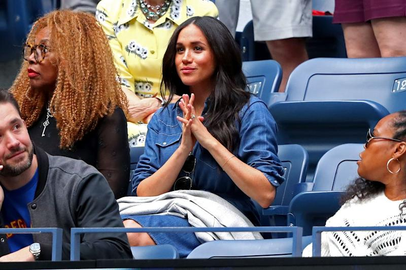 NEW YORK, NEW YORK - SEPTEMBER 07: Meghan, Duchess of Sussex, attends the Women's Singles final match between Serena Williams of the United States and Bianca Andreescu of Canada on day thirteen of the 2019 US Open at the USTA Billie Jean King National Tennis Center on September 07, 2019 in the Queens borough of New York City. (Photo by Mike Stobe/Getty Images)