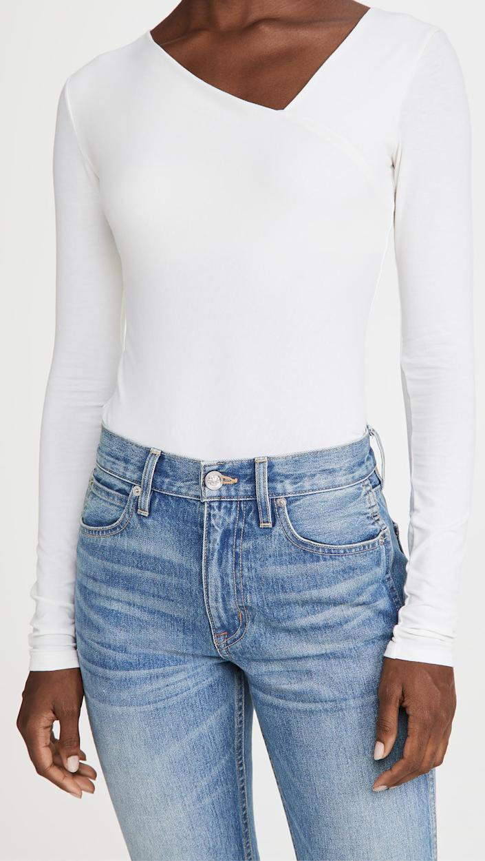 Enza Costa Brushed Pima Cotton Asymmetrical Neck Top. Image via Shopbop.