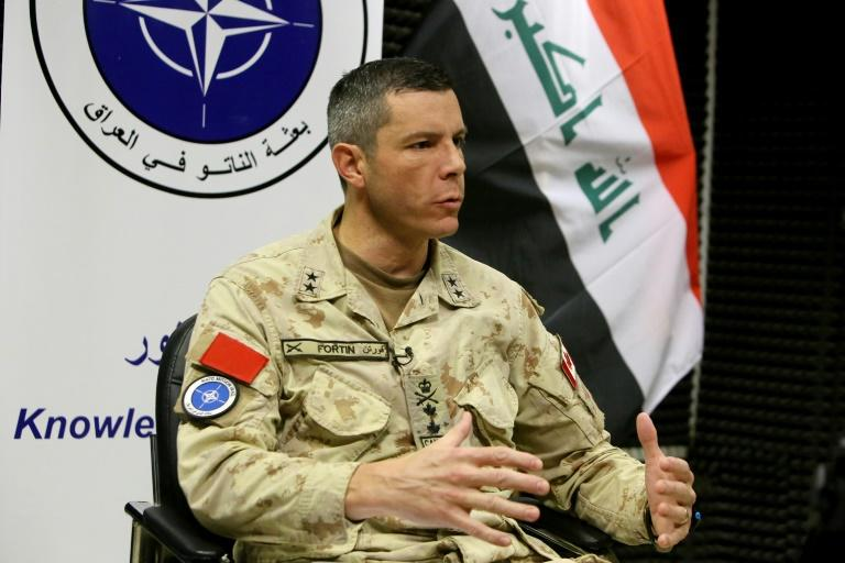 Major General Dany Fortin, the Commander of the NATO Mission Iraq (NMI), in an interview with AFP on Sunday (AFP Photo/SABAH ARAR)