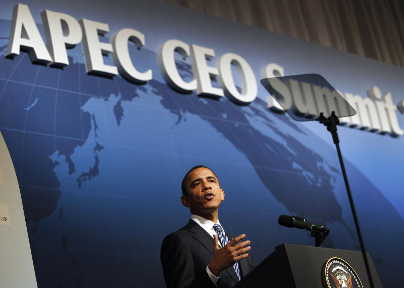 President Barack Obama speaks at the CEO business summit at the APEC summit in Yokohama,  Saturday, Nov. 13, 2010. (AP Photo/Charles Dharapak)