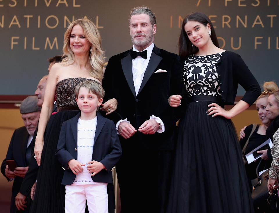 """CANNES, FRANCE - MAY 15: Kelly Preston, Benjamin Travolta, John Travolta and Ella Travolta attend the screening of """"Solo: A Star Wars Story"""" during the 71st annual Cannes Film Festival at Palais des Festivals on May 15, 2018 in Cannes, France.  (Photo by Gisela Schober/Getty Images)"""