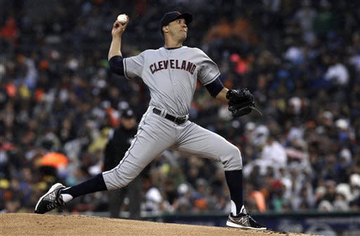 Cleveland Indians pitcher Ubaldo Jimenez throws against the Detroit Tigers in the first inning of a baseball game in Detroit, Saturday, May 11, 2013. (AP Photo/Paul Sancya)