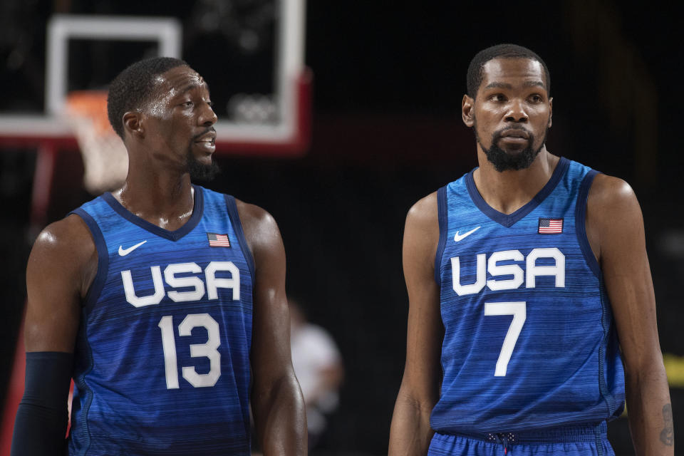 TOKYO, JAPAN - JULY 25:    Bam Adebayo #13 of the United States and  Kevin Durant #7 of the United States in action during the USA V France basketball preliminary round match at the Saitama Super Arena at the Tokyo 2020 Summer Olympic Games on July 25, 2021 in Tokyo, Japan. (Photo by Tim Clayton/Corbis via Getty Images)