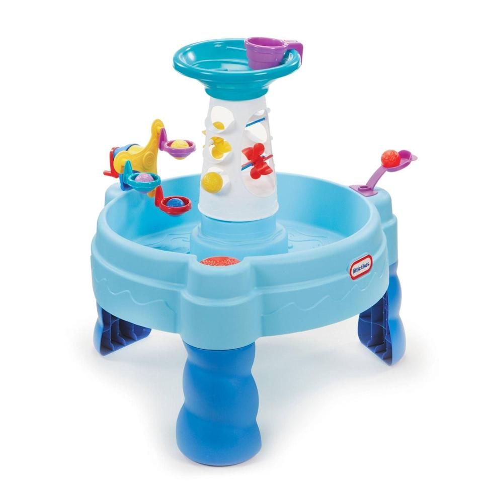<p>With a little sunscreen and supervision, toddlers will play with this <span>Little Tikes Spinning Seas Water Table</span> ($40) for hours! My kids love filling the cup with water and making the wheels spin or watching the balls spiral down and bounce in the water.</p>