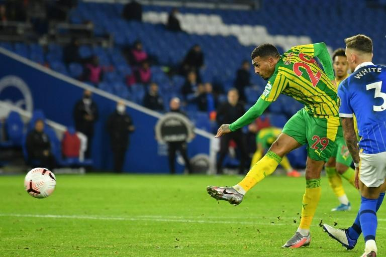West Brom's Karlan Grant scores the equaliser in a 1-1 draw with Brighton