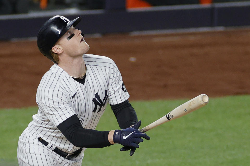 NEW YORK, NEW YORK - APRIL 06: Clint Frazier #77 of the New York Yankees bats during the fifth inning against the Baltimore Orioles at Yankee Stadium on April 06, 2021 in the Bronx borough of New York City. (Photo by Sarah Stier/Getty Images)